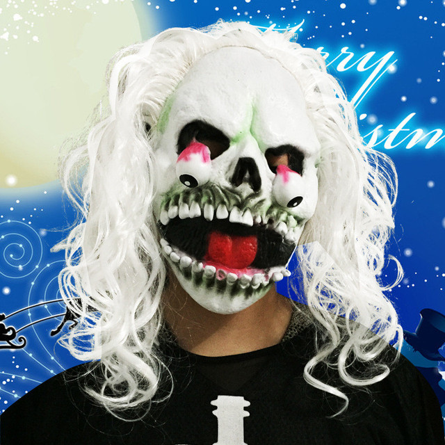 Adult Halloween Trick horror creative toy white scary Skull Mask Dance Mask Dance Costume Mask props Festival gift accessories