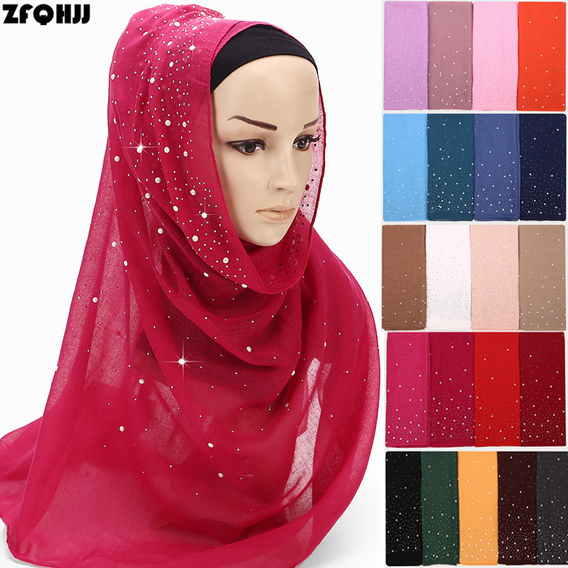 ZFQHJJ Sparkling Rhinestones White Pearls Plain Solid Women Candy Color TR Cotton  Scarf Islamic Muslim Scarves 33329a2ab63e