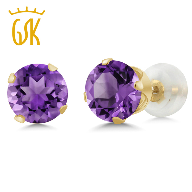 yellow ct top earrings amethyst com aliexpress stud gold store women purple buy product for gemstoneking round quality