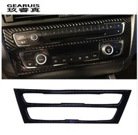 Stainless Steel Carbon Fiber Car Interior Air Conditioning CD Panel Cover Trim For BMW F20 1