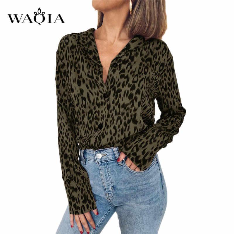 WAQIA, женская блузка с леопардовым принтом, Летние шифоновые блузки для девушек, отложной воротник, Свободные Повседневные Рубашки, Топы размера плюс, 3XL, Blusas