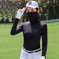 Frauen Golf T Hemd Sonnenschutz Atmungsaktive Langarm Bodenbildung Shirt Anti Uv Golf Sportswear Mit Sonnencreme Maske D0679|Golf-Trainings-T-Shirts|Sport und Unterhaltung -