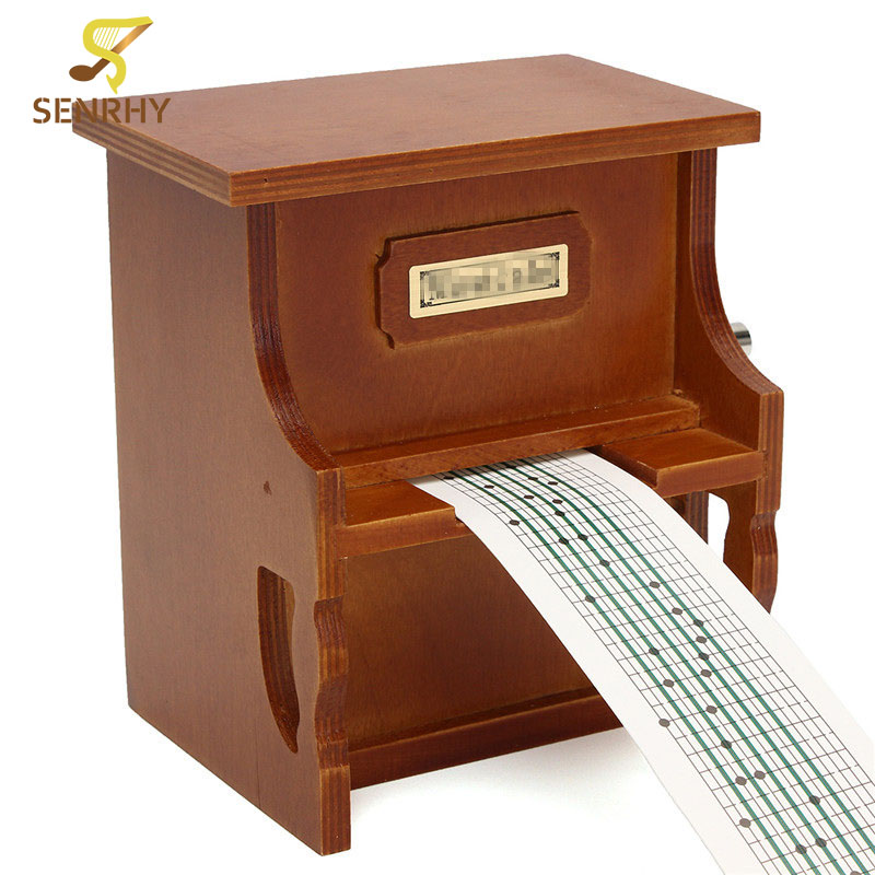 SENRHY 1Pcs Wood Hand Crank DIY Compose Music Box Combo Little Piano Musical Instrument Accessory With Paper Tape diy 15 tones hand cranked music box movement with hole puncher and paper tape