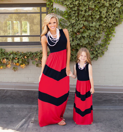 Aliexpress.com : Buy Mother Daughter dresses wave striped ...