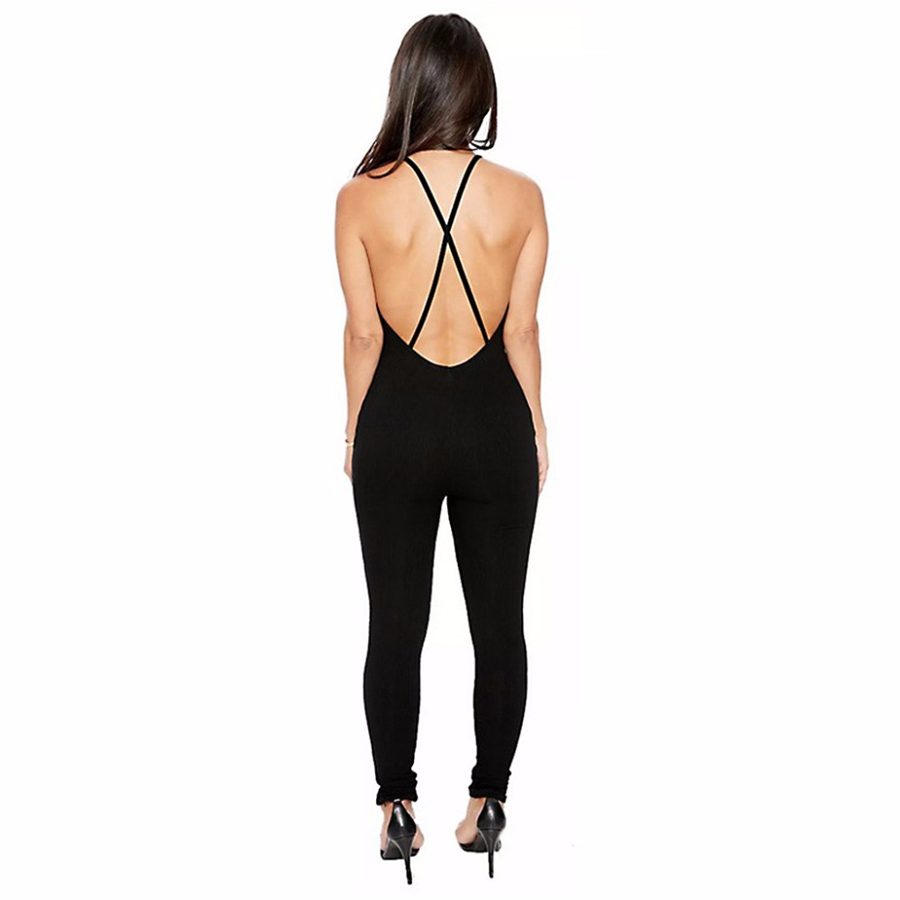 45fbe1a3ef Fashion Women Lady Sexy Jumpsuit High Slit Strappy Elastic Playsuit Show  Navel Plain Black New-in Jumpsuits from Women s Clothing on Aliexpress.com  ...