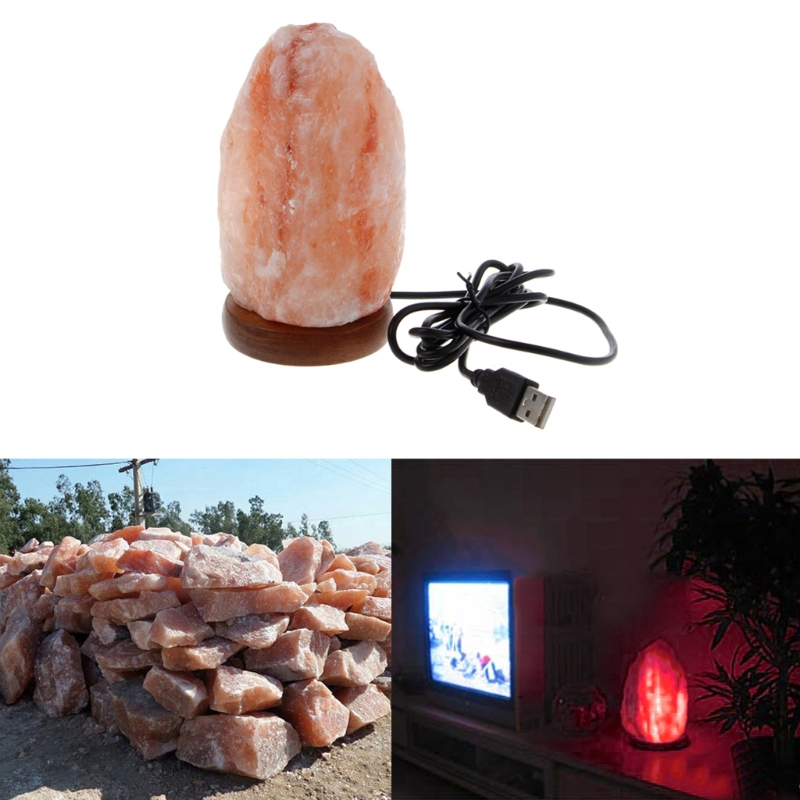 Hand Carved USB Wooden Base Himalayan Rock Salt Lamp Air Purifier Night Light in LED Night Lights from Lights Lighting