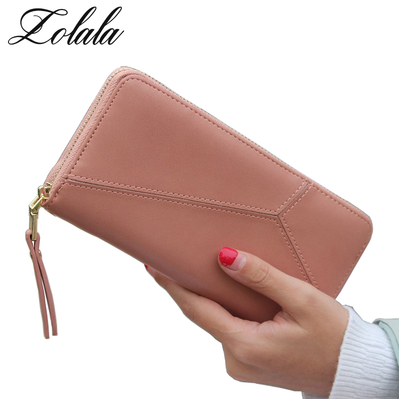 Large Capacity Fashion Women Wallets Long Dull Polish PU Leather Wallet Female Double Zipper Clutch Coin Purse Ladies Wristlet large capacity clutch purse female card bags new women long star wallet fashion banquet zipper pu leather wallets
