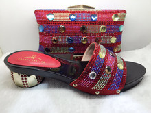 Italian African font b Women s b font Shoes And Matching Bag Set With Rhinestones Shoes