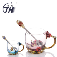 New GH Classic Rose Glass Mug With A Spoon Old Fashioned Flower Water Red Wine Whiskey Beer Tea Cup Transparent Drinkware