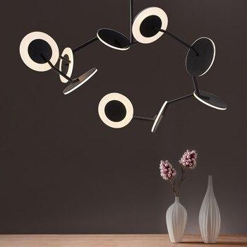 Nordic CD LED chandelier Disco postmodern aluminum acrylic high-end dining room living room villa bedroom hang lighting Chandeliers