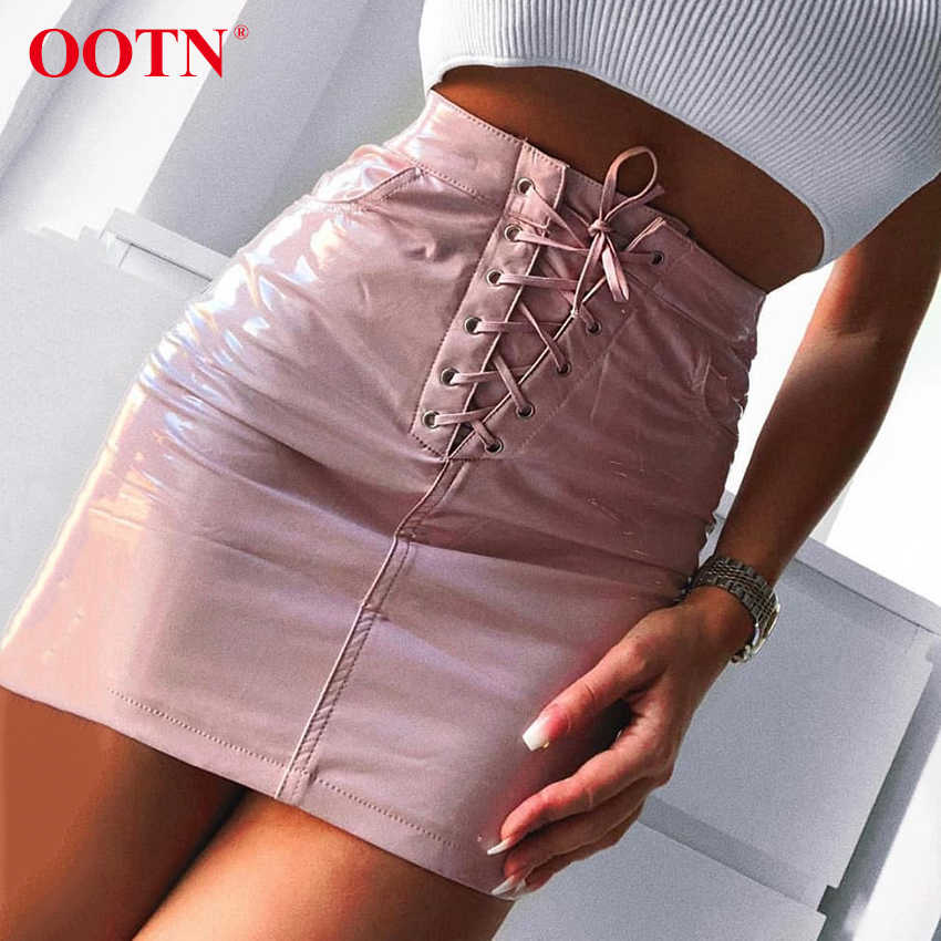 86d657068b58a3 OOTN PU Leather Skirt Women Lace Up Mini Short Skirt Female Pink Pencil  Skirts Straight Ladies