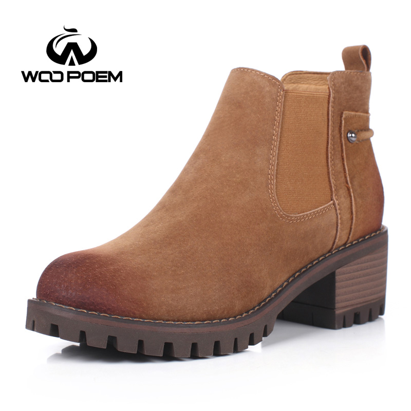 WooPoem Brand Shoes Woman Chelsea Boots Motorcycle Boots Med Heels Ankle Boots Fashion Botas Women Boots DR Martens Shoes 91785 2017 brand new women chelsea boots thick high heels dress shoes woman fashion luxury gladiator short designer booties botas