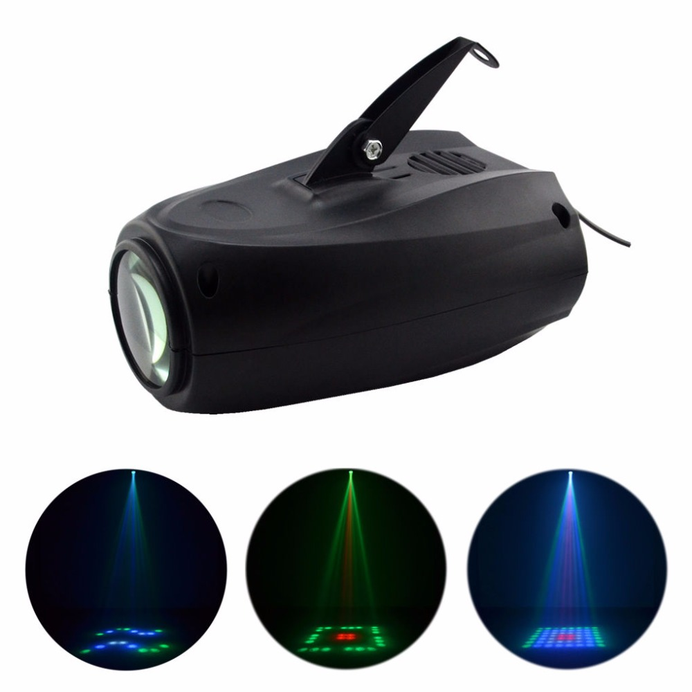 AUCD Mini 64 LEDs RGBW Sound Active 24 Lattice Patterns Projector Lights Disco Home Club Party DJ Show Stage Lighting LED-M03