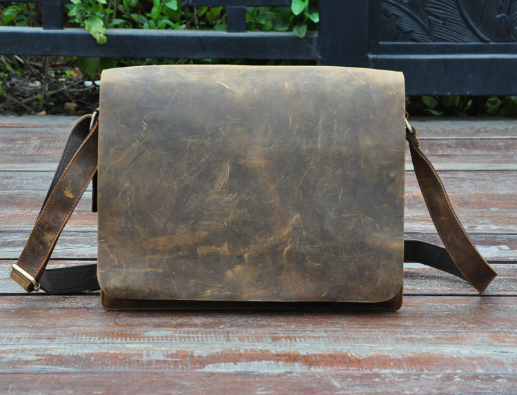 ФОТО NEWEEKEND Retro Genuine Leather Cowhide Crazy Horse Small Messenger Shoulder Crossbody iPad Bag for Man A-063