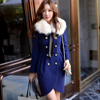 Dabuwawa 2015 Winter Women Double Breasted Woolen Coat