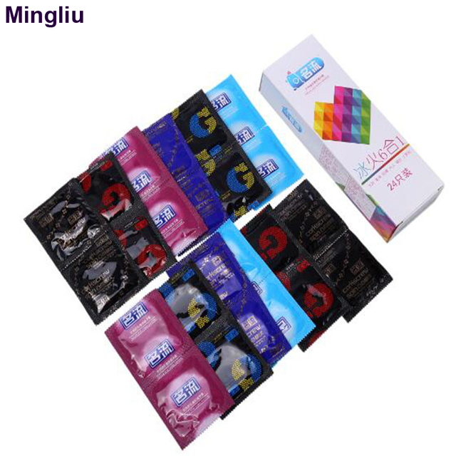 Cheap Mingliu 24pcs/set Penis sleeve Condoms for men Natural rubber latex condom ultra thin Sexual products Penis ring Sex safer