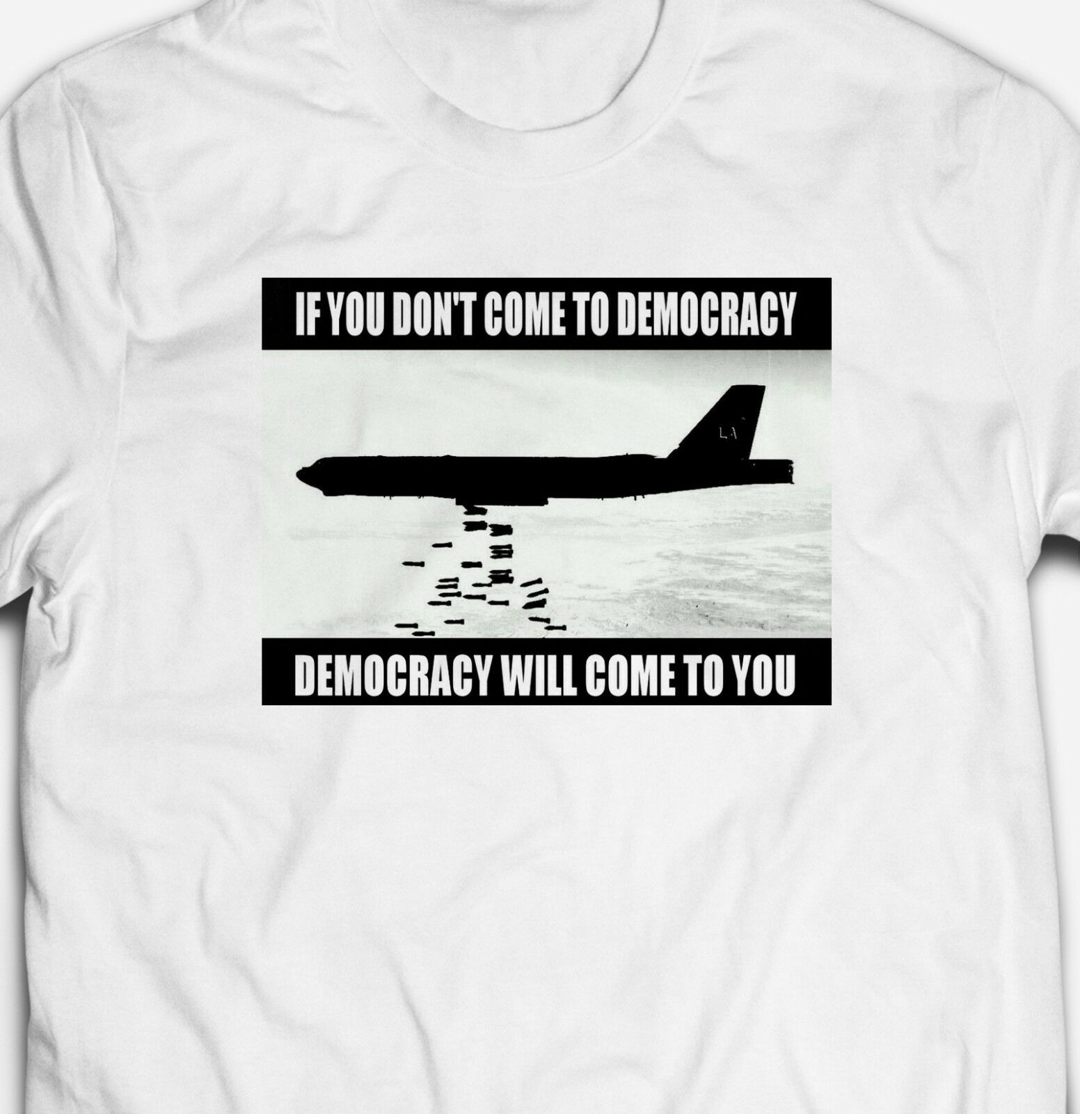 2019 Fashion Democracy Slogan War <font><b>Protest</b></font> Politics Bombs 100% Cotton Mens T-Shirt Tee Unisex Tee image