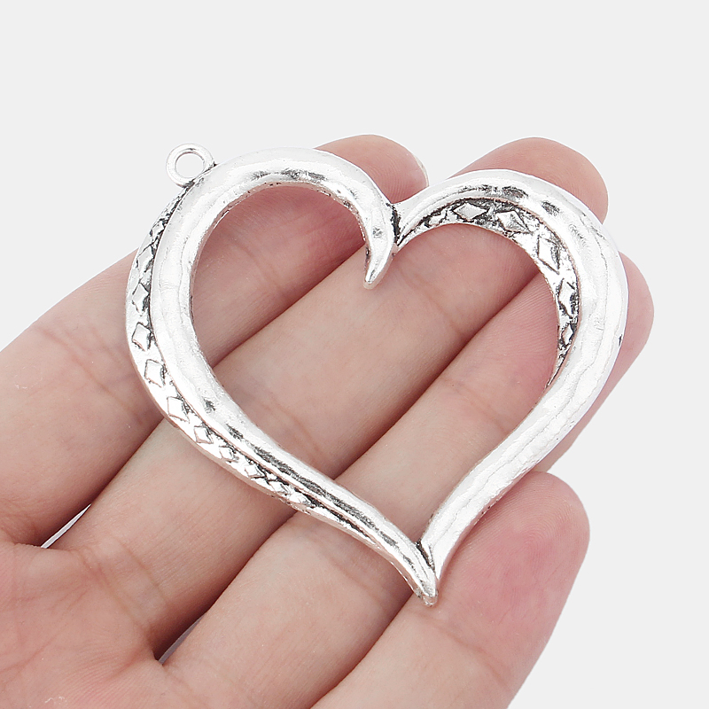 8PCS Large Open Vintage Silver Metal Love Heart Shape Charms Pendants for Necklace Making Finding Jewelry 57x53mm