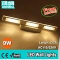 Бесплатная Доставка AC110V-240V 9 Вт LED Настенное Зеркало Огни 53 СМ Настенный Светильник Теплый Белый 3000 К Холодный Белый 6500 К