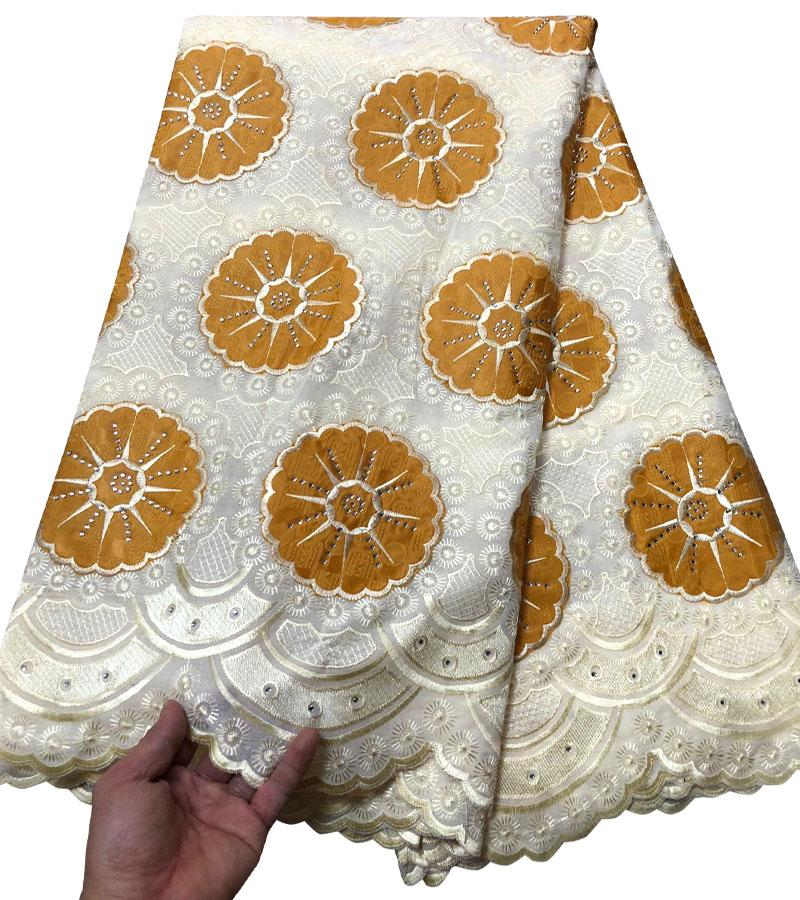 Yellow High Quality Swiss Voile Lace 2017 African Voile Swiss Lace Fabric bazin Embroidered Voile Lace
