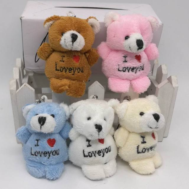 6cm x30pcs Tiny Cute Letter teddy Bear Plush Bear Doll Cell Phone Pendant Cartoon Promotion Gifts Asscorted Color