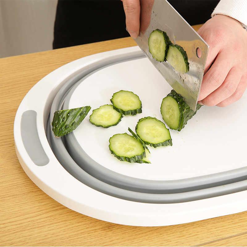 רב-פונקציה 3 ב 1 מתקפל חיתוך לוח מטבח חיתוך בלוקים מתקפל צלחת כביסה אמבטיה מסננת מדף ירקות סל