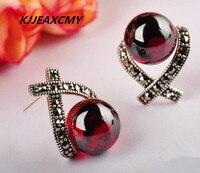 KJJEAXCMY 925 sterling silver jewelry inlaid Garnet Earrings Marcasite red female models