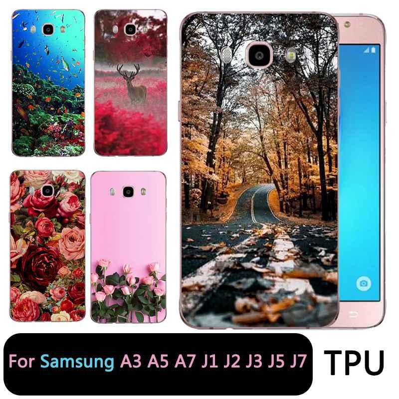 QMSWEI Soft Tpu Clear Phone Case For Samsung Galaxy A3 A5 2017 2016 prime J1 J2 J5 J3 J7 TPU Flora Moon Forest Sea Soft Case