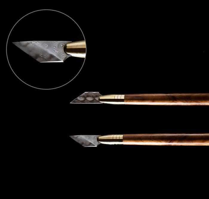 Coupe-couteau en acier damas de haute qualité coupe-cuir avec une bonne poignée en bois pour artisanat en cuir professionnel