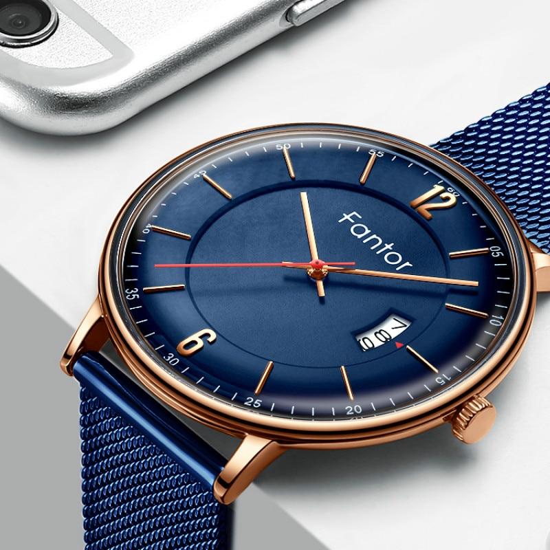 Fantor Top Brand Luxury Business Men Watch Quartz Date Waterproof Mesh Watchband Wristwatch Mens Minimalist Casual Dress Watches