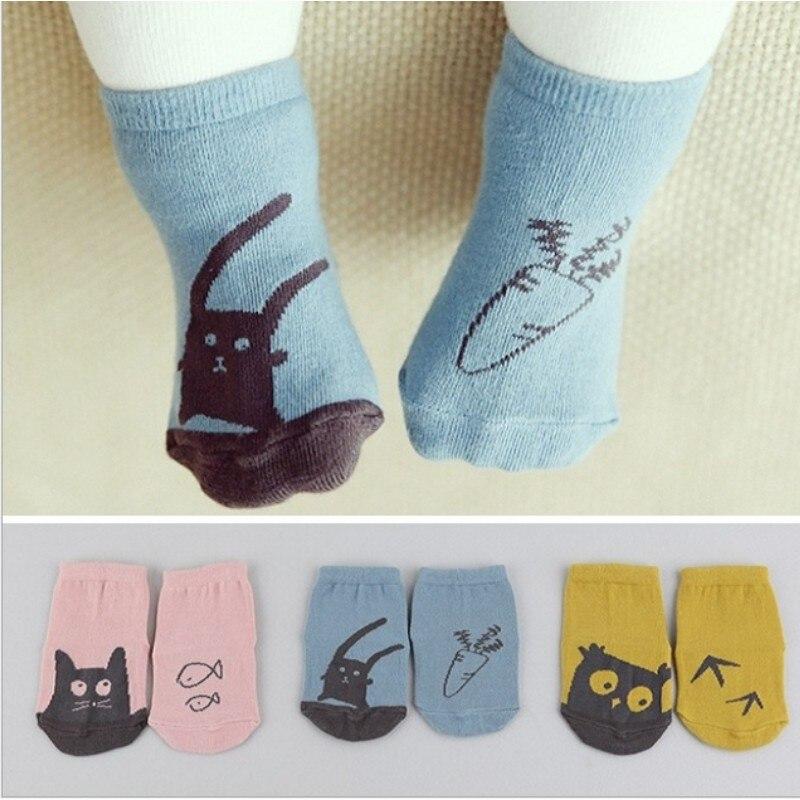 Unisex Baby Cartoon Anti-slip Cotton Socks Children Newborn Baby Animal Owl Cat Rat Bear Slipper Socks