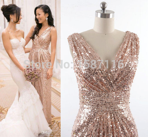 2015 Cheap Gold Champagne Sequins Bridesmaid Dresses Sexy V neck A ...