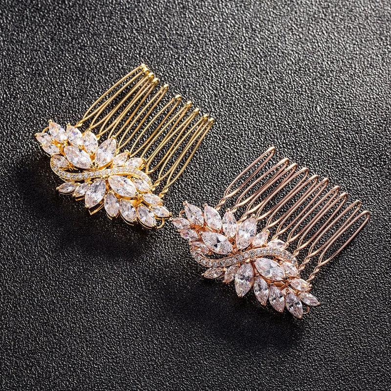 SLBRIDAL Cilësia më e lartë e Qartë qubike e pastër kubike e dasmës Krehje e flokëve të nusërisë CZ Tiara Kryefjalë Aksesorë flokësh Nuset e grave Moda e grave