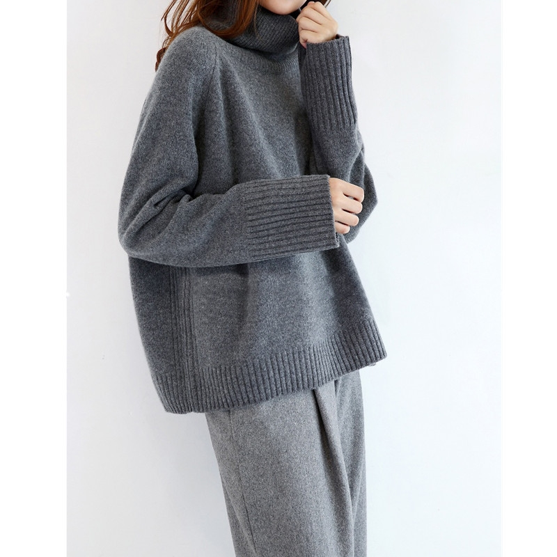 Winter New Fashion Cashmere Wool Women Warm Solid Sweaters Casual Full Sleeve Turtleneck Loose Pullovers Computer Knitt