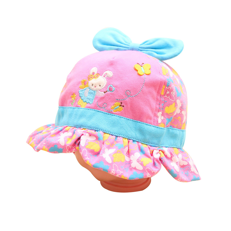 Cotton Rabbit Baby Hat Boys Girls Beanie With Bow Spring Autumn Boy Beanie Butterfly Girl Fisherman Hats Baby Girls Clothing