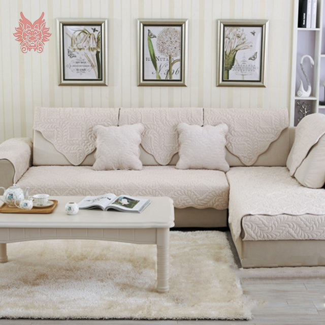 Beige Grey Floral Quilted Plush Sofa Cover Slipcovers