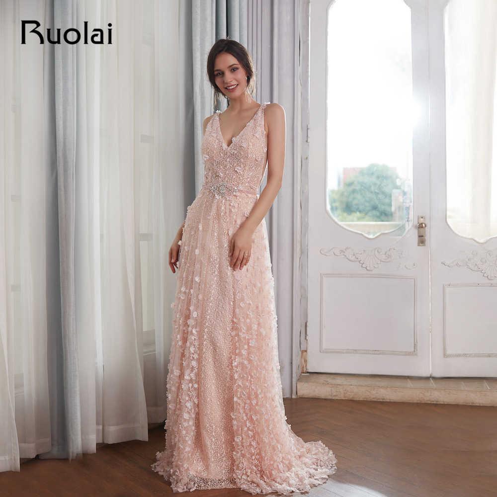 d7469efe227 Elegant Evening Dresses 2019 V-Neck Pink Flower Beaded Lace Prom Dress 2019  Evening Gown