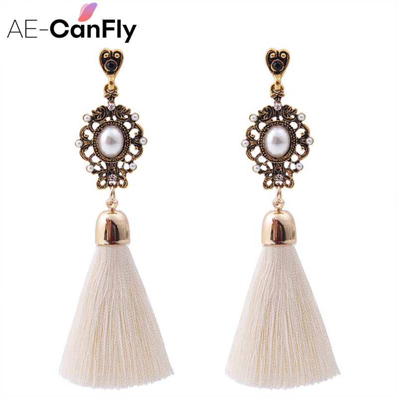 Vintage Tråd Tassel Fringe Øreringe Big Pearl Kvinder Drop Dangle Earrings Smykker 2A3013