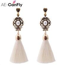 Vintage Thread Tassel Fringe Earrings Big Pearl Women Drop Dangle Earrings Jewelry 2A3013