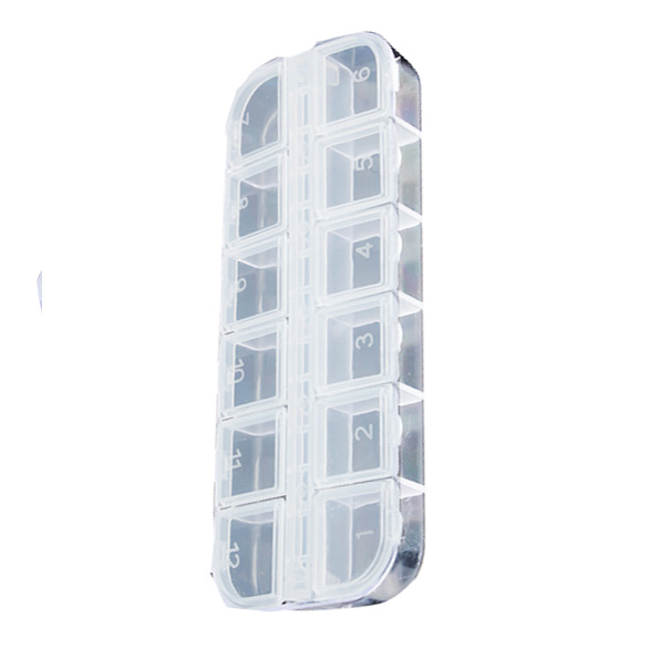 12 Grids Plastic Storage Box Jewelry Tool Box Beads Pills Organizer Nail Art Tip Storage Box Case Hard Transparent MYDING