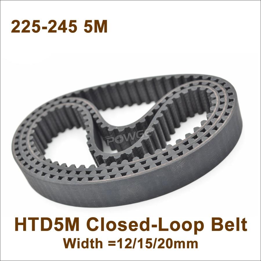 HTD 5M Timing Belt Arc Teeth 5mm Pitch 10~50mm Width Rubber Drive Belt 370~500mm