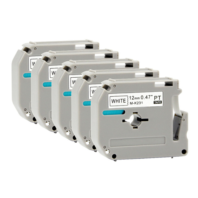 PUTY 5 piezas para Brother MK231 M-K231 M cinta de etiqueta negro sobre blanco 12mm Compatible para Brother P- impresora de etiquetas térmicas táctil