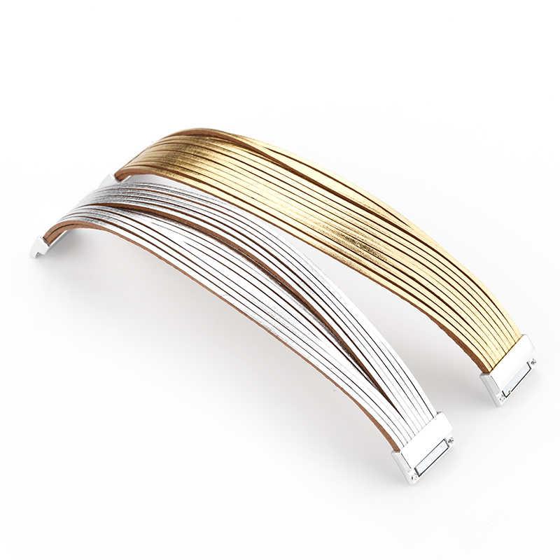 Amorcome โลหะผสมเงินทองกำไลข้อมือหนัง 20 แถบหลายแถวกำไลข้อมือสำหรับสตรีหลายกว้างเครื่องประดับหญิง