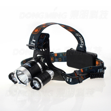 4modes 3 led headlamp CREE XML T6 2 R2 5000 Lumen head flashlight Rechargeable Headlight frontale