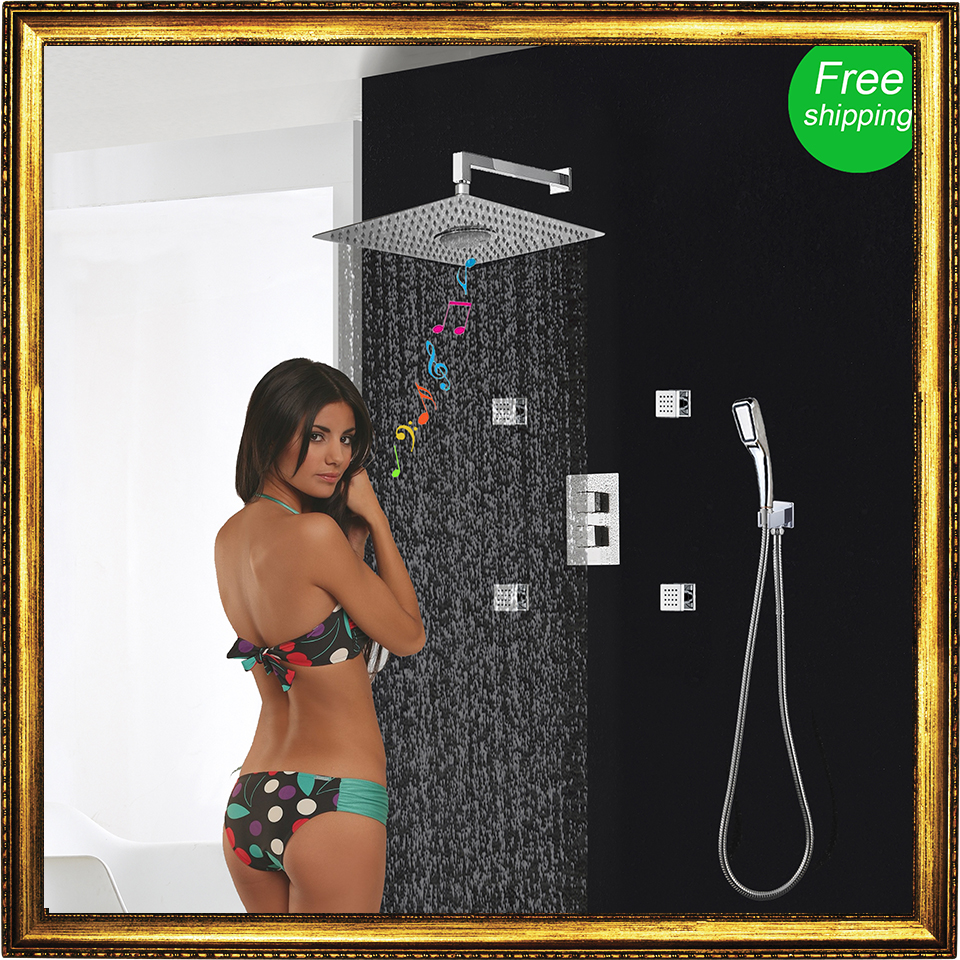 Shower Set Concealed 3 Functions Thermostatic Mixer Shower Bath FM Radio Bluetooth Shower Head Body Jets Rain Hand Shower System