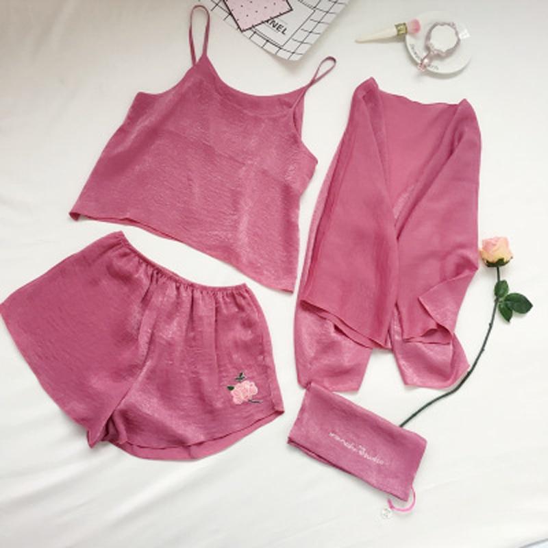 Summer Rose Embroidered Velvet Silk Sexy Sling Home Service Women Korean Pajamas Four-piece Womens Set
