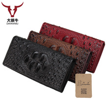 Cow Leather Long Wallets Coin Pocket Vintage Female Purse Function Brown Genuine