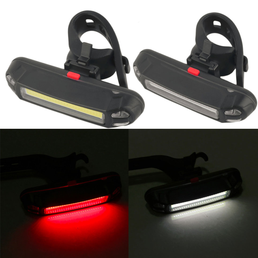 Hot 100 Lumens Rechargeable COB LED USB Mountain Bike Tail Light Taillight Safety Warning Bicycle Rear Light Bicycle Lamp New