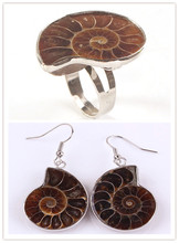 Kraft-beads Unique Silver Plated Ammonite Reliquiae Engagement Ring Drop Earrings For New Year Jewelry Sets