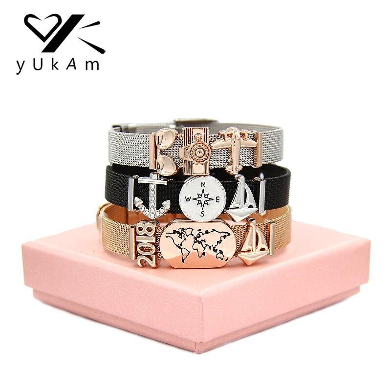 YUKAM Love Travel World Map Plane Compass Slide Charm Mesh Keeper Bracelets Friendship Dream Graduation Bracelets Femme with Box friendship bracelets